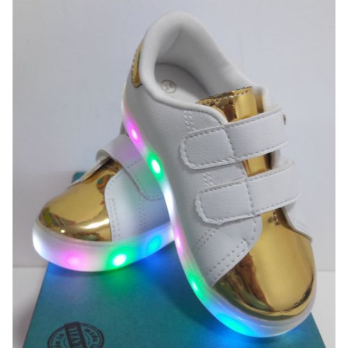 Tenis-Happy-Light-Verniz-Ouro-Branco-LED